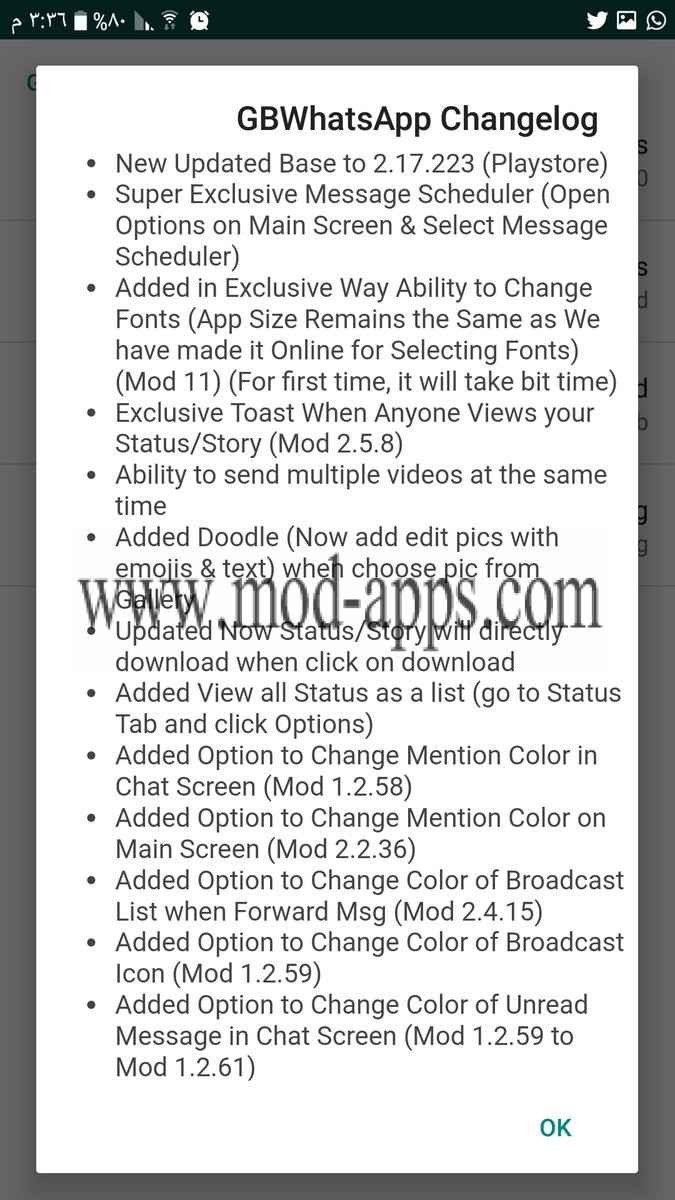 GBWhatsApp v5.80 apk changes log update 2017