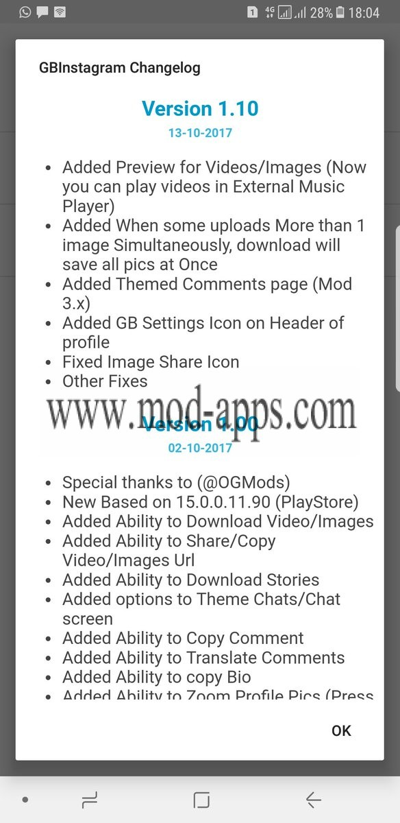 New features in GBInstagram v1.10