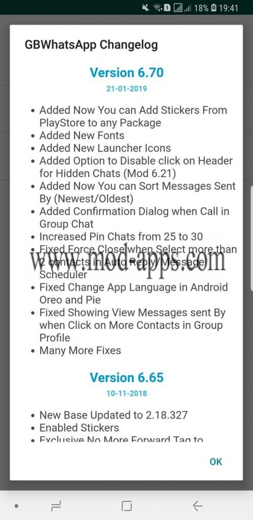 changes log in GBWhatsApp 6.70 apk
